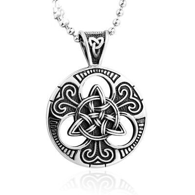 Stainless Steel Titanium Celtic Carved Trinity Knot Triquetra Pendant Necklace