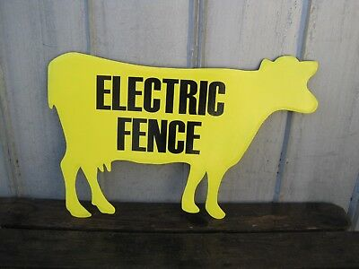 "Large 32"" x 21"" COW CATTLE Farm Metal Wall Sign ELECTRIC FENCE Country  B8147"