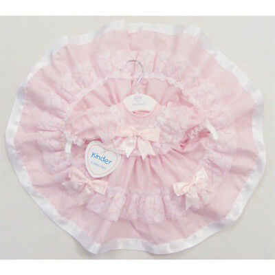 Baby Girls Stunning Pink Spanish Style Lace & Bow Full Skirt Frilly Dress