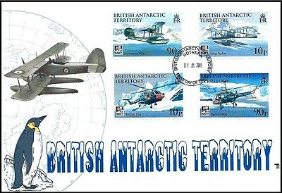 British Antarctic Territory Aircraft All 4 Stamps on one Therome FDC