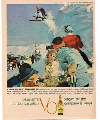 1959 SEAGRAM'S VO Whiskey Downhill Ski Race Skier Spectators art VTG PRINT AD