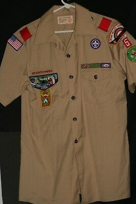 Tan boy scouts of america short sleeve button up collared shirt lot # twenty-two