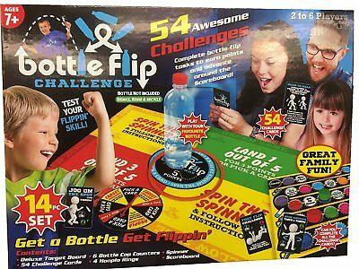 54 Bottle Flip Board Game 18 Piece Kids Family Xmas Gift Present 2-6 Players