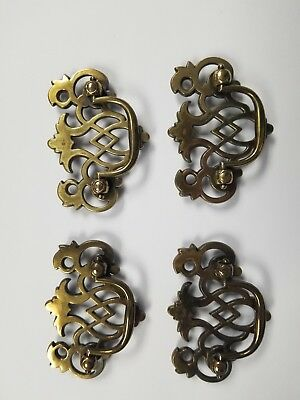 4- Antique Hardware Vintage Chippendale Batwing Drawer Pull