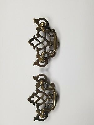 Antique Hardware Vintage Chippendale Batwing Drawer Pull set of 2