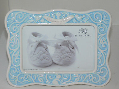 Christening Baby  Picture Frame Blue Enesco Christened in Faith 4x6