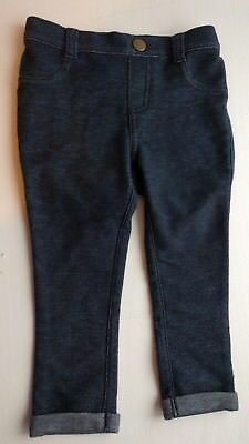 NWOT Old Navy Stretchy Dark Blue Jeans Leggings 18-24mo Cotton Blend Cuffs CUTE!