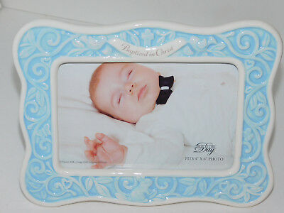 Baptism Baby Picture Frame Blue Enesco Baptized in Christ 4x6