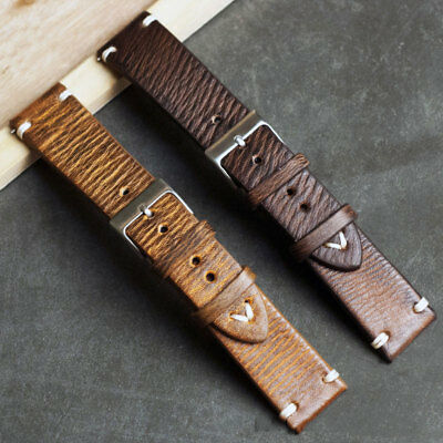 Universal Vintage Style Distressed Leather Mens Watch Band Strap with Stitching