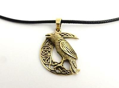 Bronze Raven on pentagram Moon necklace by Lisa Parker pagan wicca waxed cord