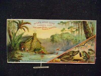 victorian trade card # 3227 - AYERS AGUE CURE - LOG CABIN