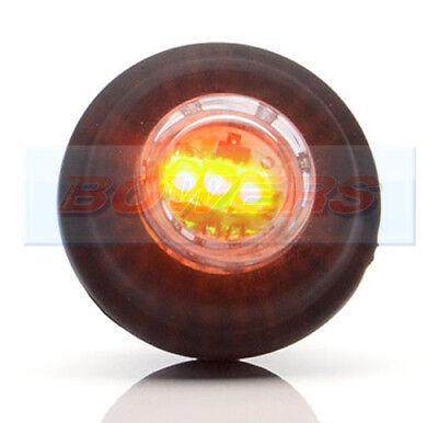 Push In Fit 12V 24V Small Round Amber Clear Led Button Side Marker Lamp Light