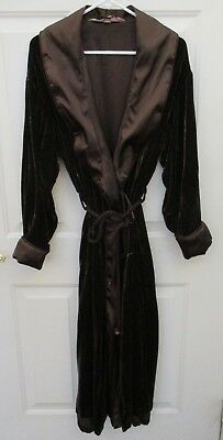 VICTORIA'S SECRET Long Brown Velvet Robe with Rope Lining Size S Small