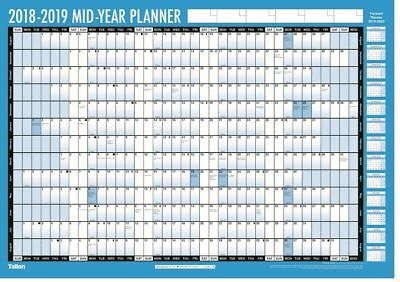 2018-2019 Academic Mid Year Wall Planner Chart Large A1 Calendar + Pen Stickers