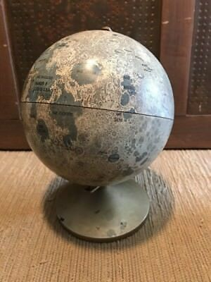 """Replogle Lunar Globe 5-1/2"""" Diameter Moon With Stand Made In U.S.A. Pre Owned"""