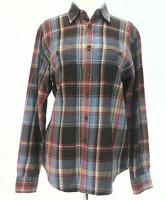 RALPH LAUREN Sport Plaid Flannel Button Down Shirt Top Brown/Blue/Salmon M $89