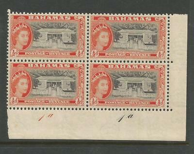 BAHAMAS 1954  ½d PLATE 1a BLOCK OF 4. MINT NEVER HINGED.