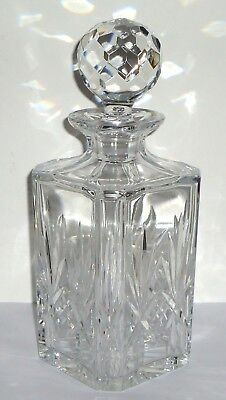 Crystal Decanter Cut Glass With Ball Stopper Whiskey Scotch Liquor Heavy Vintage