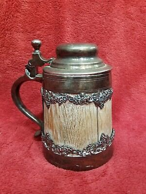 St Louis Silver Co Stein Wood Quadruple Plate Silver Marked 010