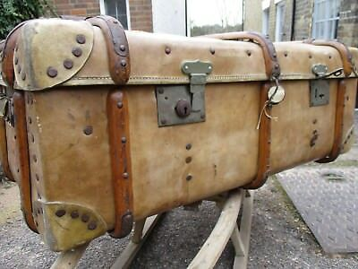 Antique Leather Wooden Banded Trunk Suitcase Luggage