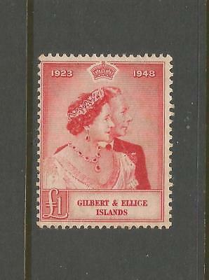 Gilbert & Ellice 1949 £1 Silver Wedding. Mint Light Hinged. See Description