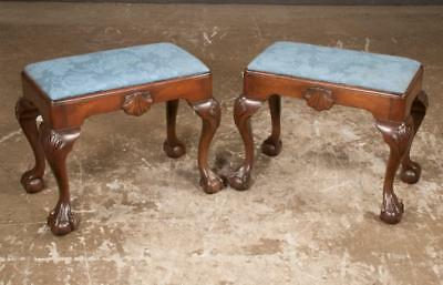 Pair of Chippendale style mahogany stools with shell carved aprons an... Lot 263