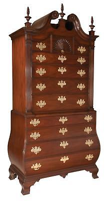 Chippendale style mahogany bonnet top chest on chest with carved rose... Lot 159