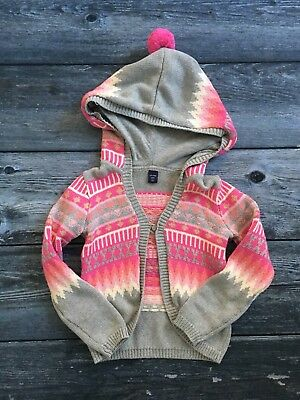 Girls GAP Knit Hooded Sweater Size 5 Gray Pink Nordic Fair Isle