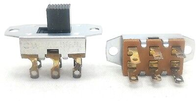 (1) DPDT Slide Switch 3 Amp 125 VAC, 0.5 amp 125VDC Double Pole/Throw 6 Terminal