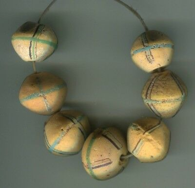 African Trade beads Vintage Venetian glass 7 old yellow king beads