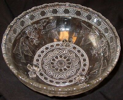 "Antique Vintage Mold-Pressed Glass Candy Bowl-Birds & Berries-8"" Diax3 1/2"" Tall"
