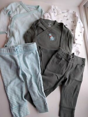 Used 5 Piece Lot Carters 6m Long Sleeved Kimono One-Pieces Pants Set Dog Stripes