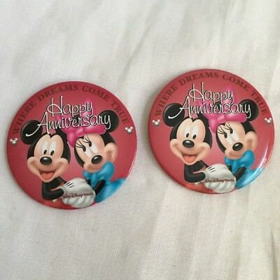 Disney 2 Button WDW Happy Anniversary Mickey Minnie Wedding Marriage Pin