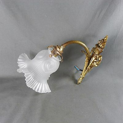 Antique French 2nd Empire Bronze and Frosted White Glass Wall Light Sconce Torch
