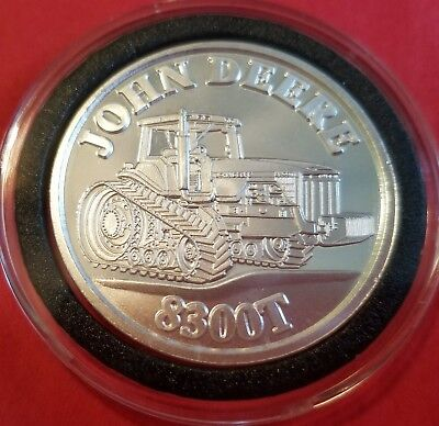 John Deere 8300T Tractor .999 Pure Fine Silver Round 1 Troy Oz Collector Coin