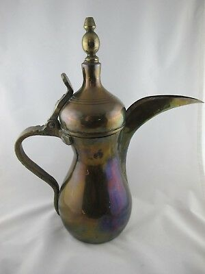 Vintage Brass Arabic Dallah Middle Eastern Coffee Pot Signed/stamped, Bohemian