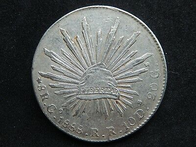 Mexico 8 Reales Go 1888 RR KM#377.8 Uncleaned XF-AU