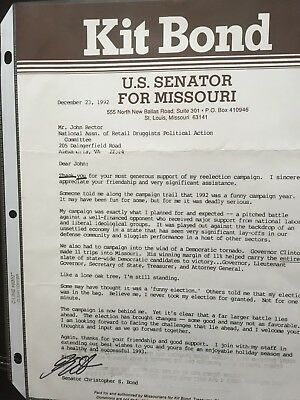 SIGNED TYPED letter from Sen. & Governor Kit Bond (MO) to John Rector (Lobbyist)