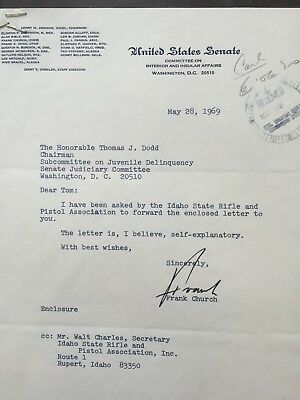 SIGNED TYPED letter from Sen.Frank Church (ID) to Sen. Birch Bayh(IN)