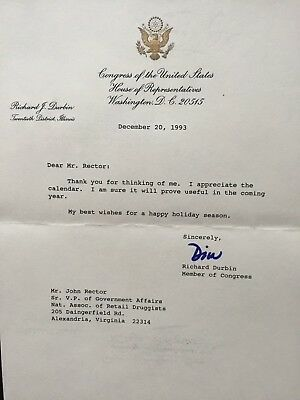 SIGNED TYPED letter from U.S. Rep. Dick Durbin(ILL) to John Rector Esq(Lobbyist)