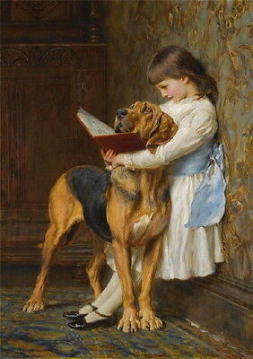 Antique Art~Small Girl Reads to her Bloodhound Dog Dogs~ NEW Large Note Cards