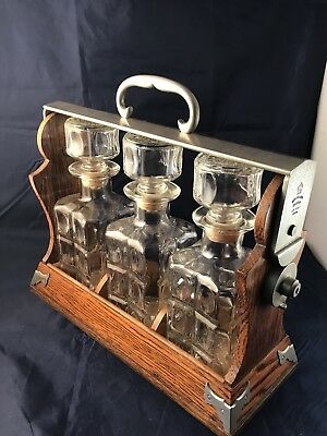 Vintage Betjemann's Tantalus Decanter Caddy with Decanters London Patent 38880