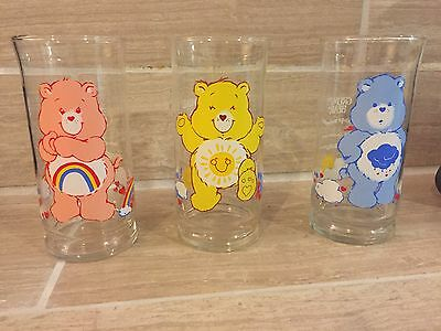 Set of 3 Rare Vintage Care Bear Glasses Pizza Hut 1983