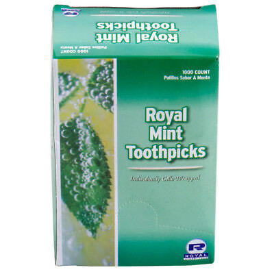 Royal Paper Mint Individually Wrapped Round Wooden Tooth Picks 1000 / Box
