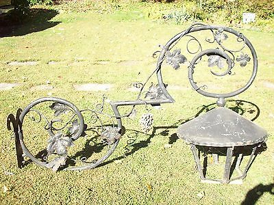 Antique Very Large Outdoor Cast Iron & Steel Light Grape Vines, Trade Sign