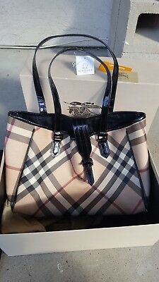 Authentic Burberry Baby Novacheck Diaper Bag in EUC Original Box Tags and Card