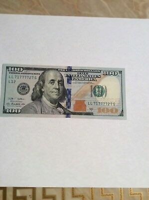 .2009A $100 US FEDERAL RESERVE NOTE **FANCY SERIAL NUMBER** LUCKY 7s LL71777727G