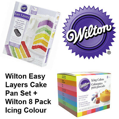 Wilton 6 Inch Layer Cake Tin & Icing Colours Combo Set - Decorating Supplies