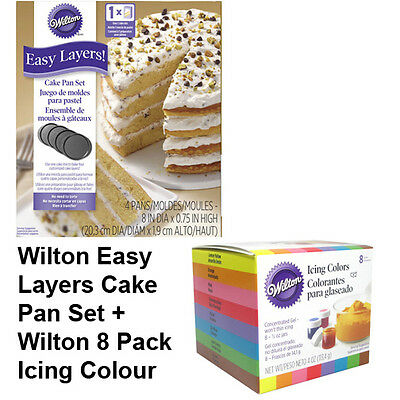 Wilton 8 Inch Layers Cake Tin & Icing Colours Combo Set - Decorating Supplies