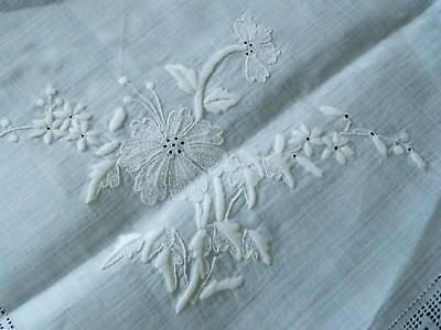 Antique Very fine handmade lace & hand Embroidered natural Linen tablecloth